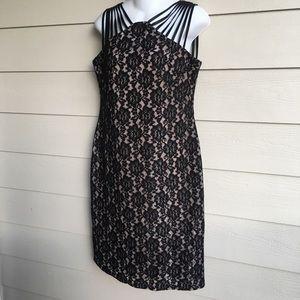 Scarlett Lace Dress Black Shiny Bronze Sleeveless